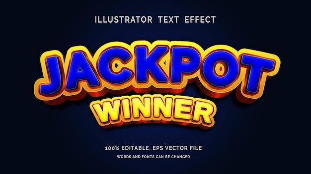 Bewerkbare teksteffect jackpot winnaar stijl