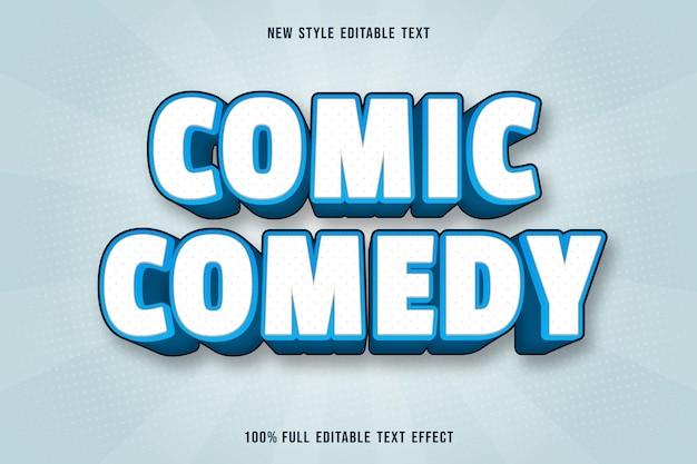 Bewerkbare teksteffect komische komedie in wit en blauw