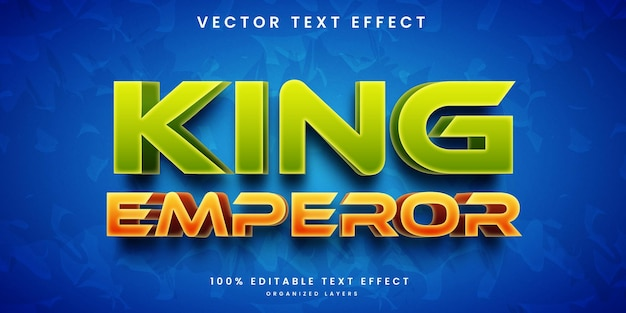 Bewerkbare teksteffect koning keizer stijl premium vector