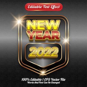 Bewerkbare teksteffect nieuwjaar 2022 sjabloonstijl