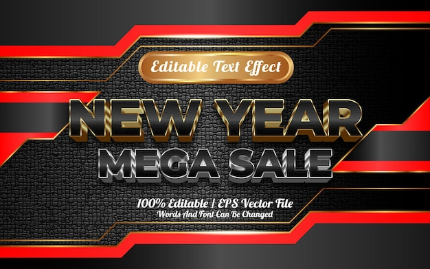 Bewerkbare teksteffect nieuwjaar mega verkoop sjabloonstijl