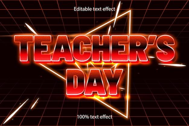 Bewerkbare teksteffect retro-stijl voor lerarendag