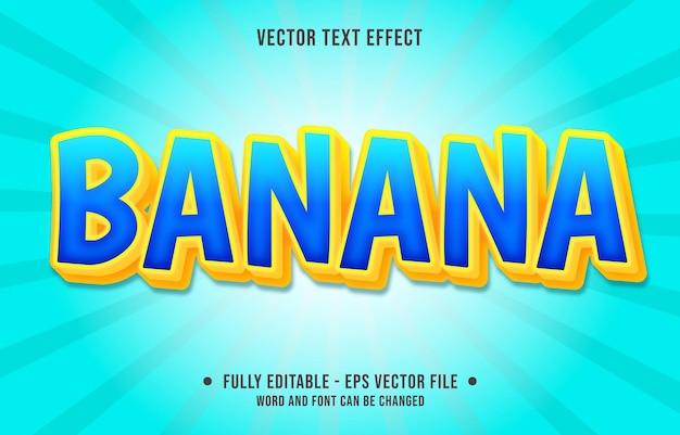 Bewerkbare teksteffect sjabloon gele banaan kleurverloop moderne stijl