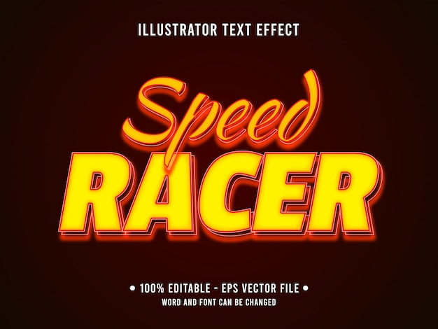 Bewerkbare teksteffect sjabloon gele snelheid racestijl