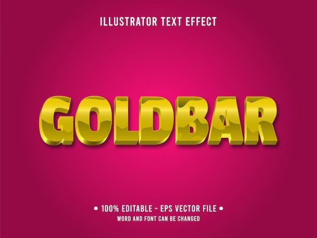 Bewerkbare teksteffect sjabloon glanzende gele gouden stijl