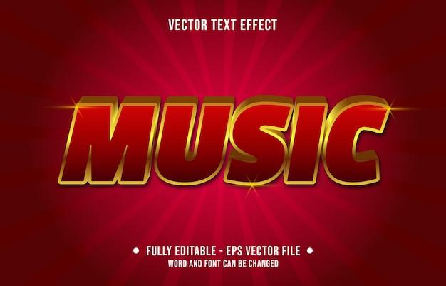 Bewerkbare teksteffect sjabloon gouden rood fluweel muziek luxe stijl