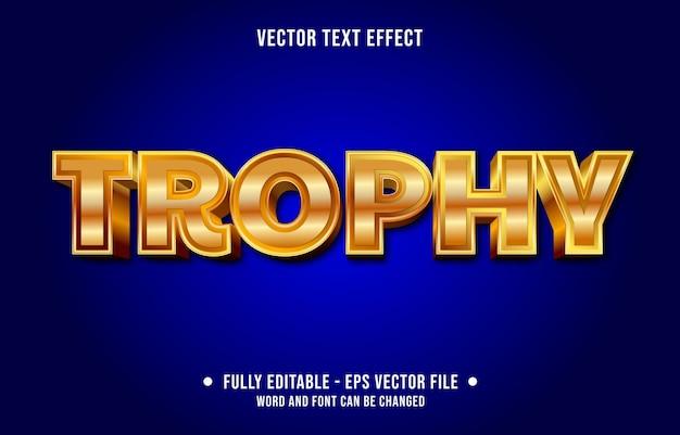 Bewerkbare teksteffect sjabloon gouden trofee award stijl