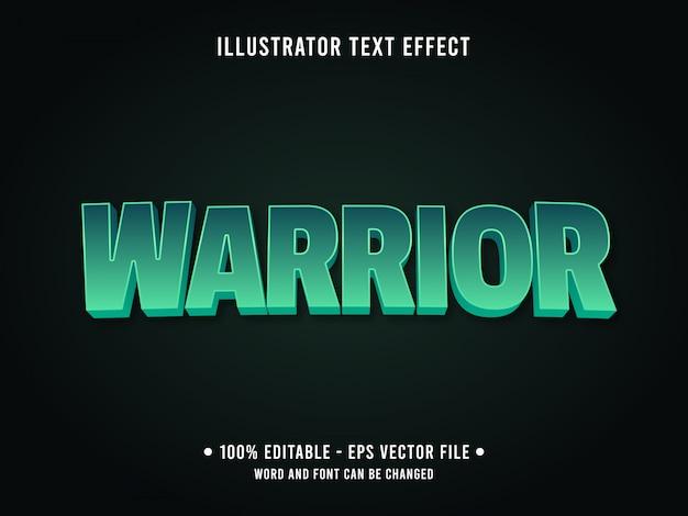 Bewerkbare teksteffect sjabloon groene krijger stijl