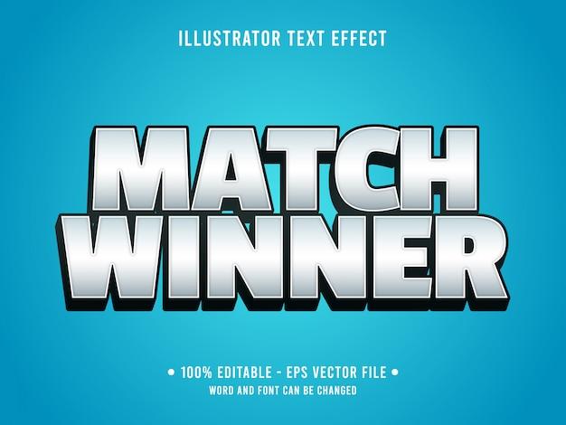 Bewerkbare teksteffect sjabloon match winnaar eenvoudige moderne stijl