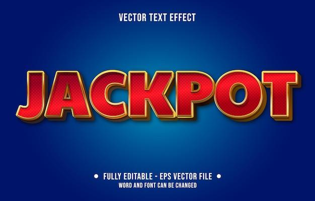 Bewerkbare teksteffect sjabloon rode jackpot casinostijl