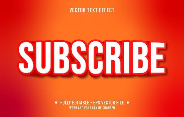 Bewerkbare teksteffect sjabloon witte en rode abonneerknopstijl