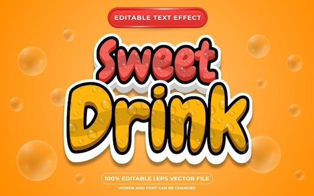 Bewerkbare teksteffect sjabloonstijl voor zoete drank