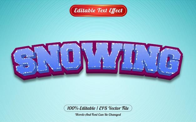 Bewerkbare teksteffect sneeuwen sjabloonstijl