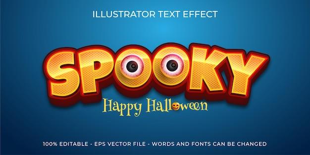 Bewerkbare teksteffect spookachtige illustraties in 3d-stijl