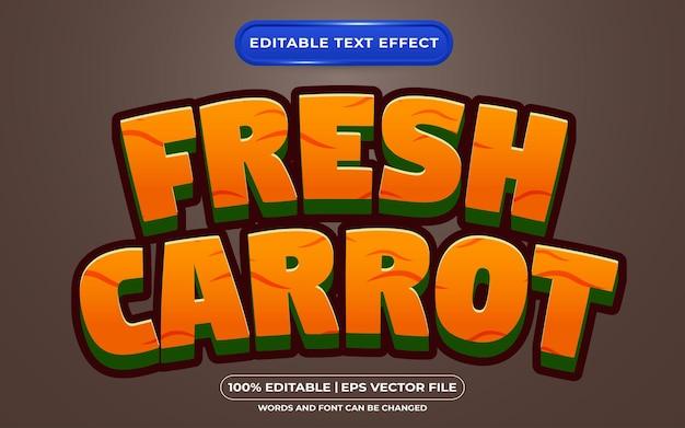Bewerkbare teksteffect verse wortel cartoon stijl