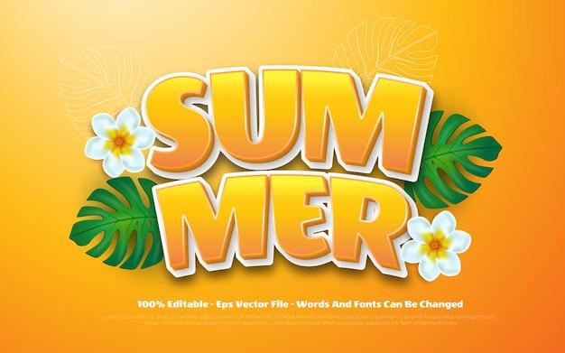 Bewerkbare teksteffect zomer 3d-stijl illustraties