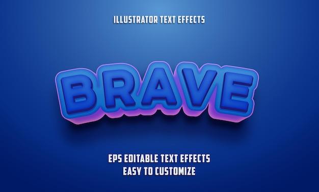 Bewerkbare teksteffectenstijl op blauwe en roze kleur