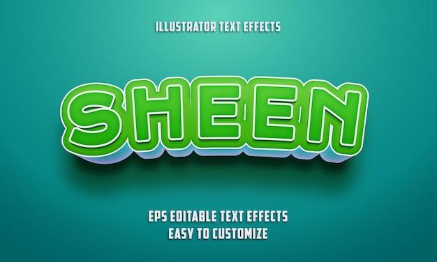 Bewerkbare teksteffectenstijl op groene en hemelsblauwe kleur