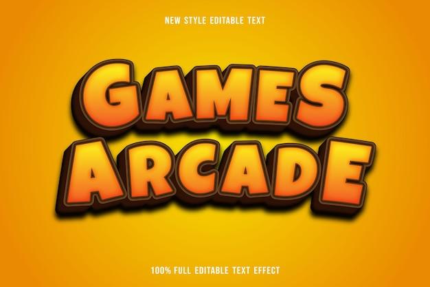 Bewerkbare teksteffectgames arcade kleur geel en bruin