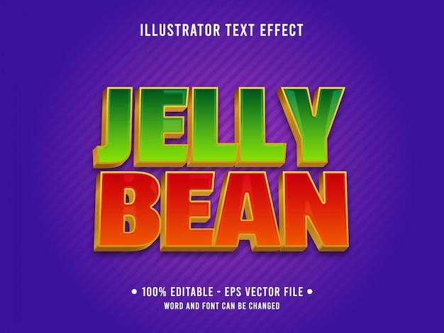 Bewerkbare teksteffectsjabloon jelly bean voedselstijl Premium Vector