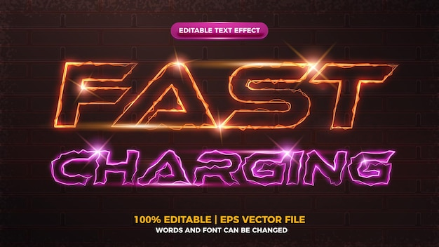 Bewerkbare teksteffectsjabloon voor elektrisch flits opladen