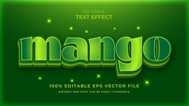 Bewerkbare teksteffectsjabloon voor onbewerkte mango