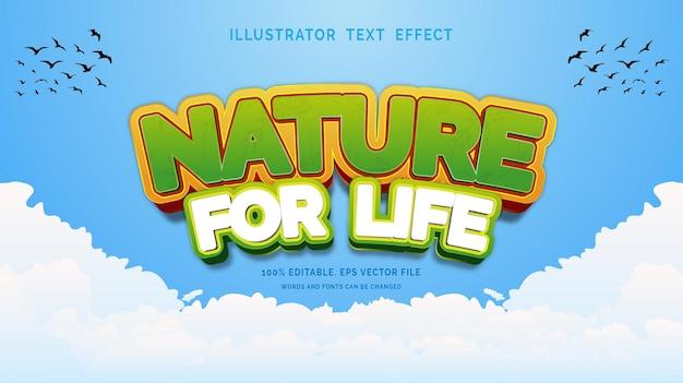 Bewerkbare teksteffectstijl natuur voor het leven