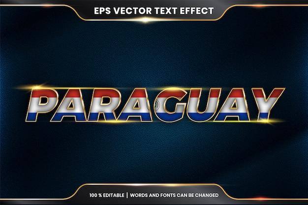 Bewerkbare teksteffectstijl - paraguay met zijn nationale landvlag