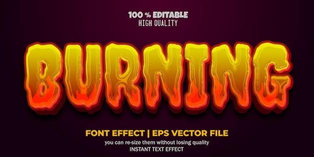 Bewerkbare teksteffectstijl voor lettertypen branden