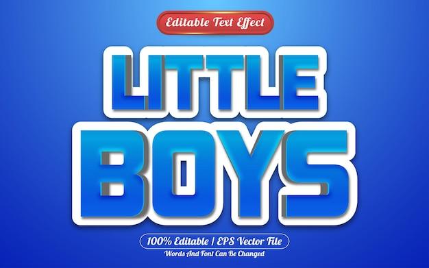 Bewerkbare teksteffectstijlsjabloon voor kleine jongens