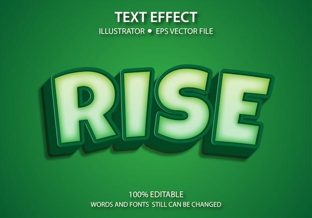 Bewerkbare tekststijl effect cute rise vector