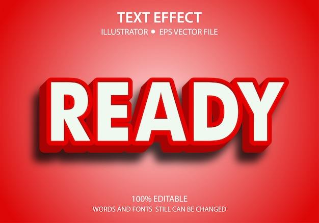 Bewerkbare tekststijl effect red ready vector