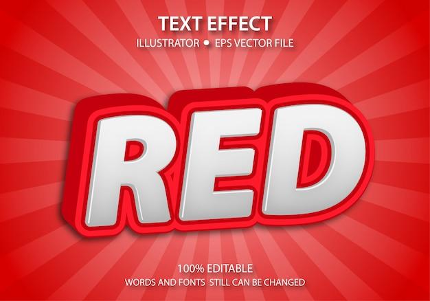 Bewerkbare tekststijl effect schattig rood