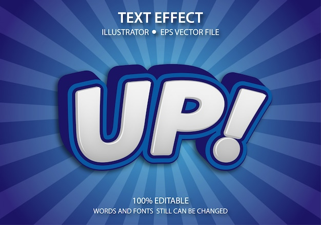 Bewerkbare tekststijl effect up vector