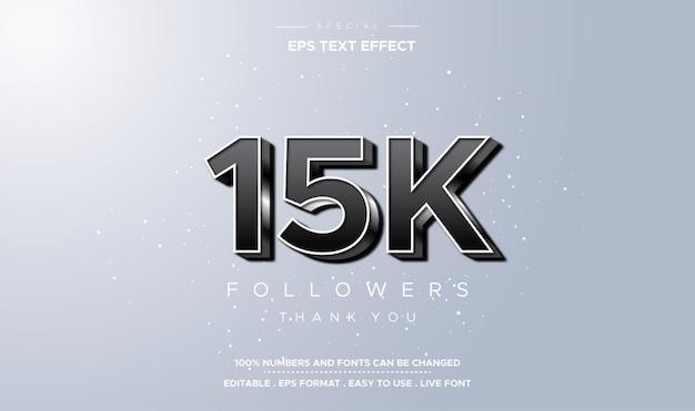 Bewerkbare tekststijl vijftienduizend volgers nummer effect