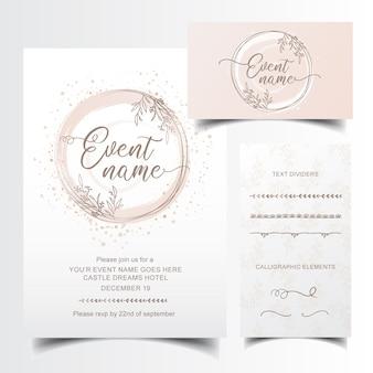 Bewerkbare uitnodiging en visitekaartje ontwerp met hand getrokken tekst scheidingslijnen