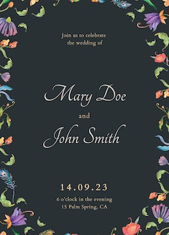 Bewerkbare uitnodigingskaartsjabloon met illustratie van aquarelpauwen en bloemen
