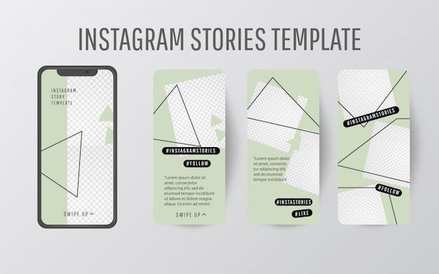 Bewerkbare verhaalsjabloongroep met trendkleur en driehoekige vormen