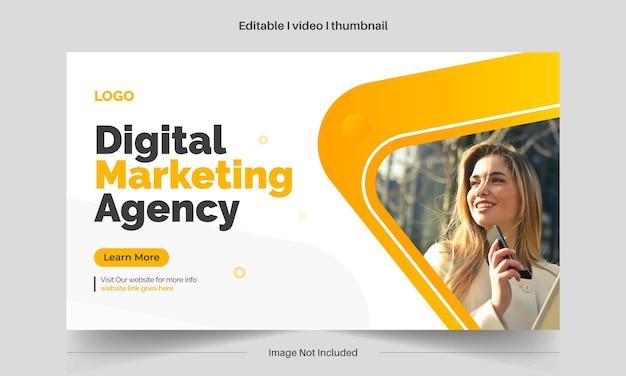 Bewerkbare videominiatuur en bewerkbare webbannersjabloon voor zakelijke digitale marketing