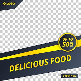Bewerkbare voedsel social media post sjabloon met moderne stijl