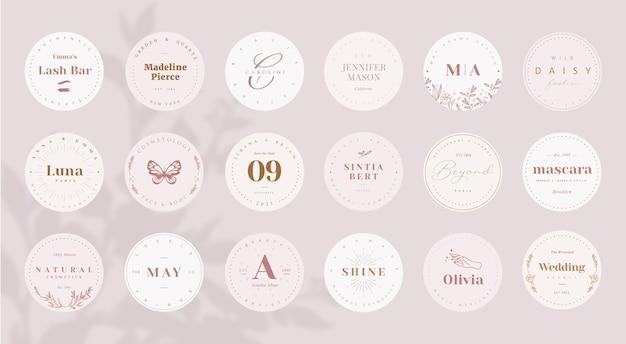 Bewerkbare vrouwelijke ronde logo sjabloon op roze achtergrond