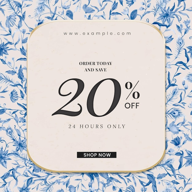 Bewerkbare winkeladvertentiesjabloon met aquarelpauwen en bloemenillustratie met 20% korting op tekst
