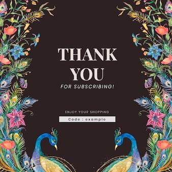 Bewerkbare winkeladvertentiesjabloonvector met aquarelpauwen en bloemenillustratie met bedanktekst