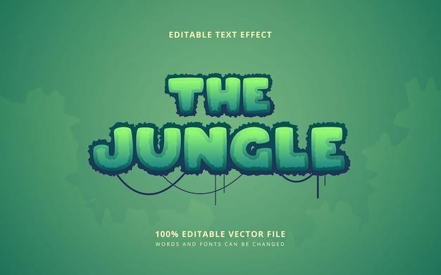 Bewerkbare woorden en lettertypen in jungle bos tekststijl