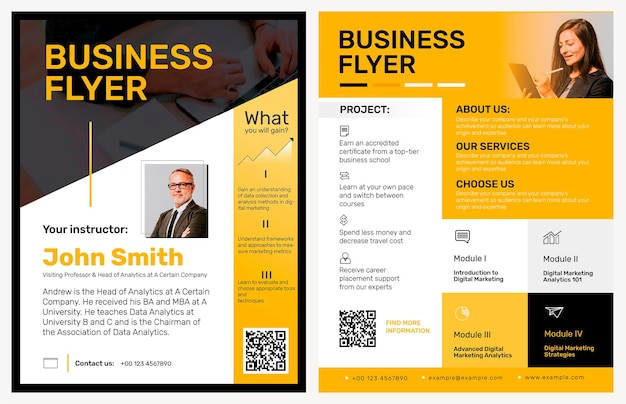 Bewerkbare zakelijke flyer-sjabloon in geel modern design