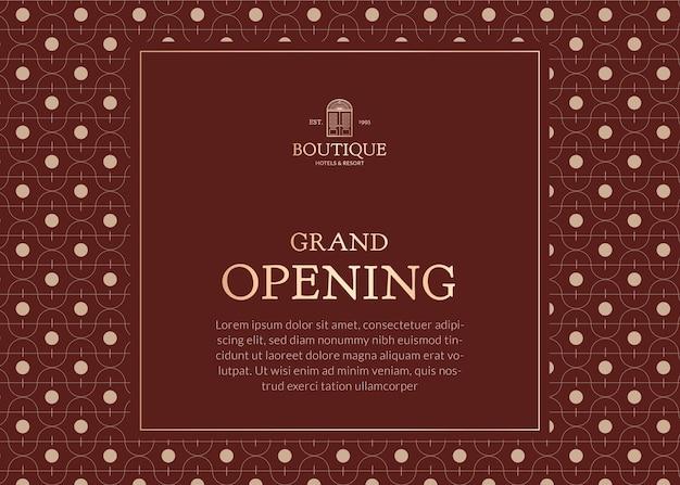 Bewerkbare zakelijke uitnodigingskaartsjabloon retro huisstijlontwerp voor grote opening van de winkel