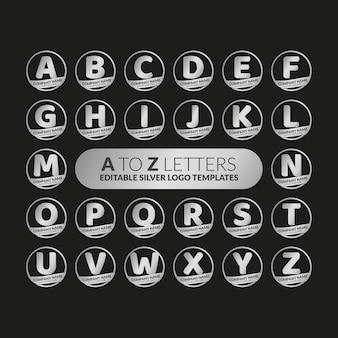 Bewerkbare zilveren logo-templates van a tot z-letters