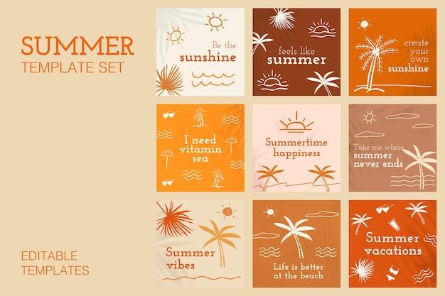 Bewerkbare zomersjablonen vector met schattige doodle set voor post op sociale media