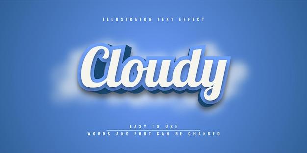 Bewolkt bewerkbaar teksteffectontwerp voor illustrator