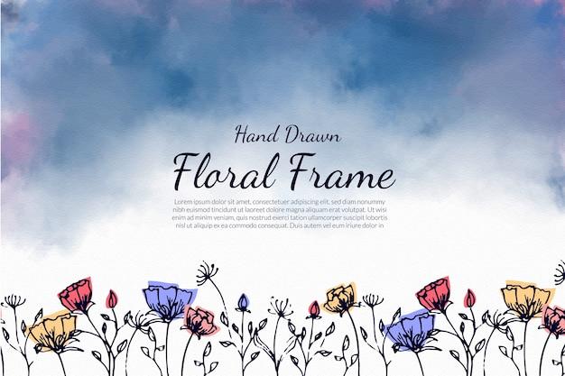 Bewolkte achtergrond met hand getrokken bloem frame